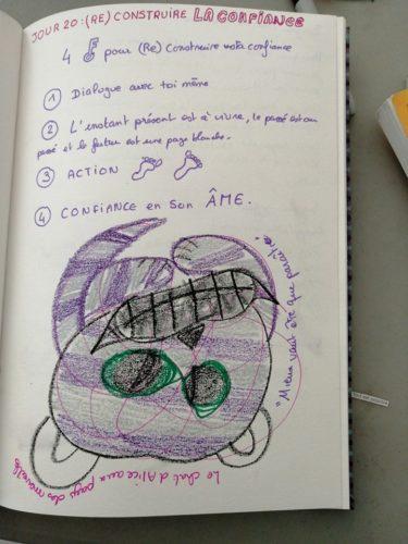 jour 20 reconstruire la confiance défi des 100 jour en journal créatif Maud art-thérapeute