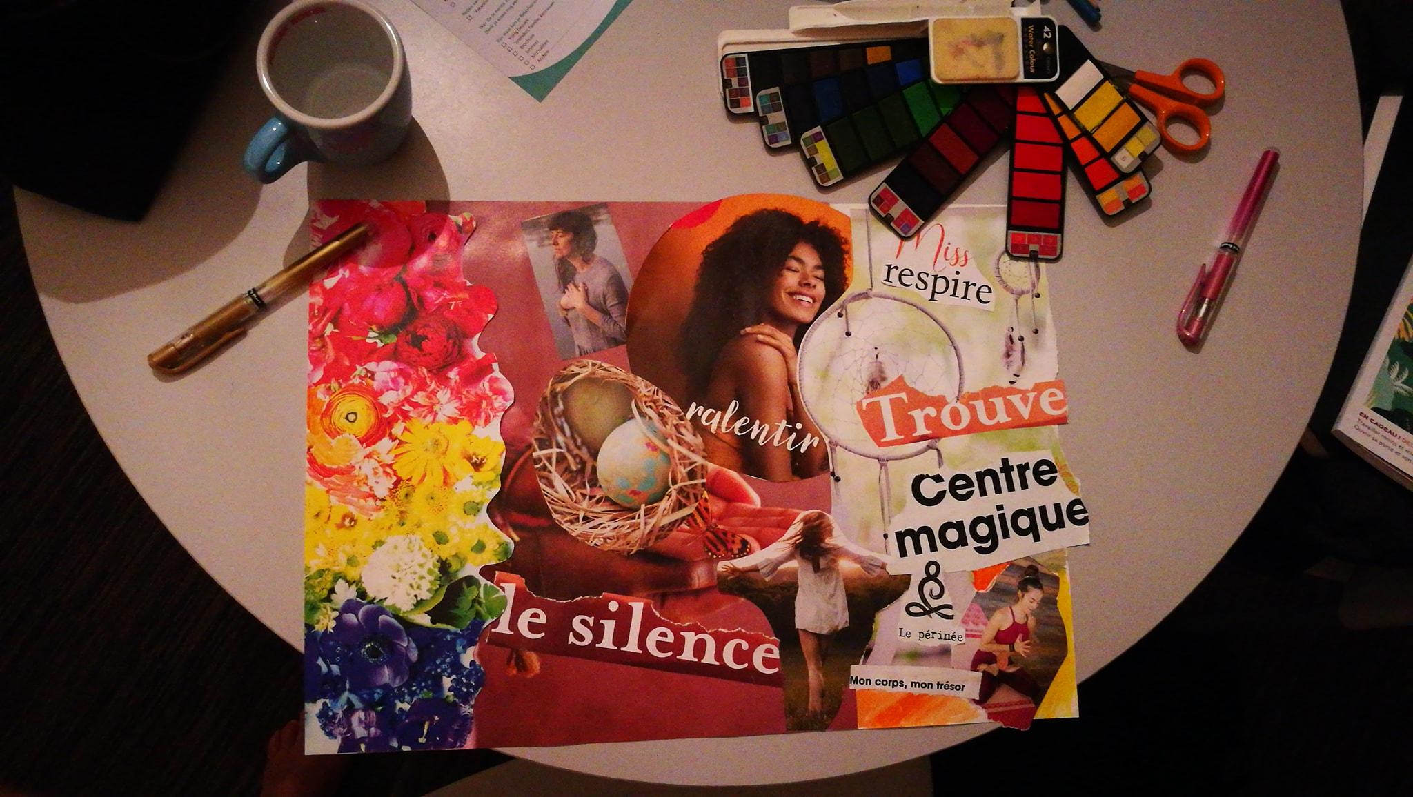 tableau de visualisation collage journal créatif Maud art-therapeute, maincy 77950 défi des 100 jourss
